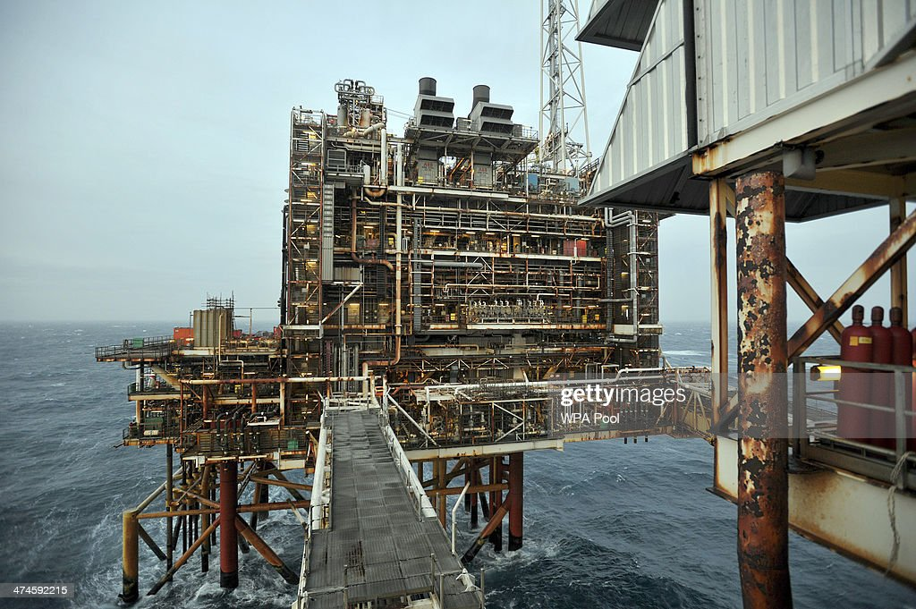 A general view of the BP ETAP (Eastern Trough Area Project) oil platform in the North Sea on February 24, 2014, around 100 miles east of Aberdeen, Scotland. The British cabinet will meet in Scotland for only the third time in history to announce plans for the country's oil industry, which it warns will decline if Scots vote for independence. The fate of North Sea oil revenues will be a key issue ahead of the September 18 referendum to decide whether Scotland will end its 300-year-old union with England, and is expected to be the focus of Prime Minister David Cameron's cabinet meeting.