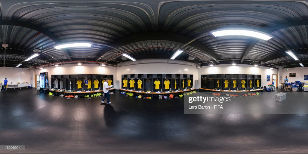 A general view of the Brazil dressing room before the 2014 FIFA World Cup Brazil Play-off for third place match between Brazil v Netherlands at Estadio Nacional on July 12, 2014 in Brasilia, Brazil.