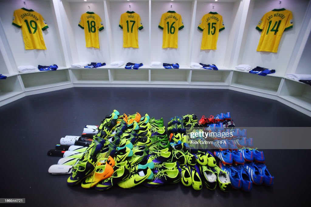 General view of the Brazil dressing room prior to the FIFA U-17 World Cup UAE 2013 Quarter Final match between Brazil and Mexico at Al Rashid Stadium on November 1, 2013 in Dubai, United Arab Emirates.