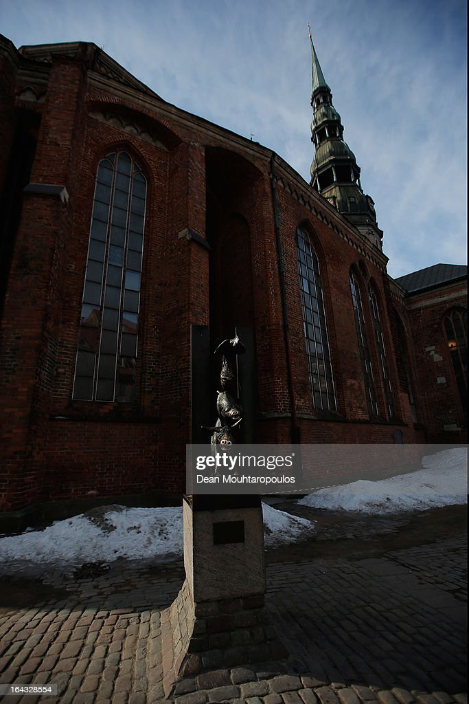 A general view of the Bremen Musicians which is sculpture of four animals, a donkey, a dog, a cat and a rooster next to The Church of St. Peter on March 21, 2013 in Riga, Latvia.