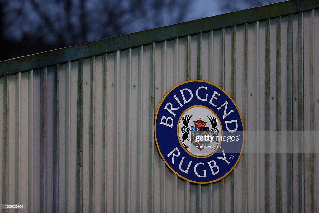 A general view of the Bridgend Rugby club logo during the LV= Cup match between Ospreys and Harlequins at Brewery Field on February 3, 2013 in Bridgend, Wales.