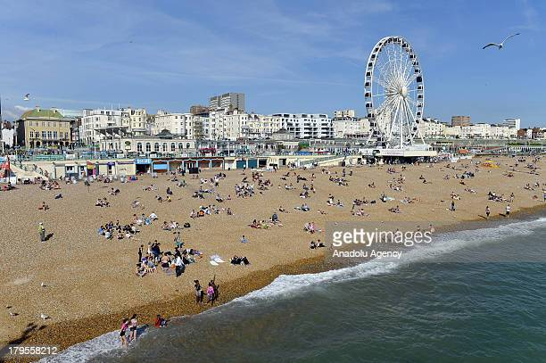 A general view of the Brighton beach on 29 August 2013 Brighton is one of the summer resorts today in UK which used to be a small fishing town and...