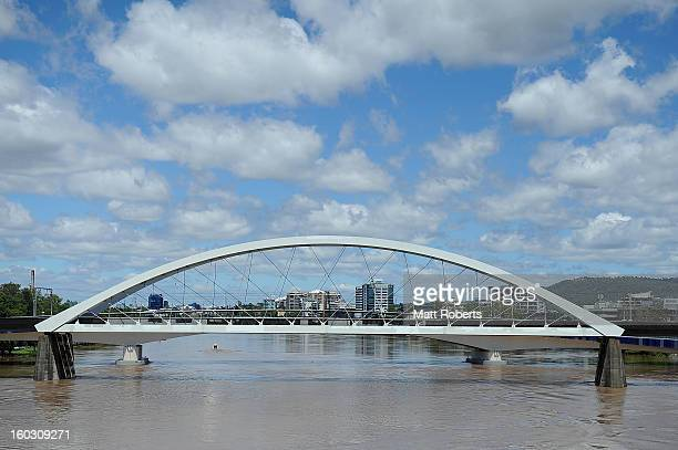 A general view of the Brisbane river as parts of southern Queensland experiences record flooding in the wake of Tropical Cyclone Oswald on January 29...
