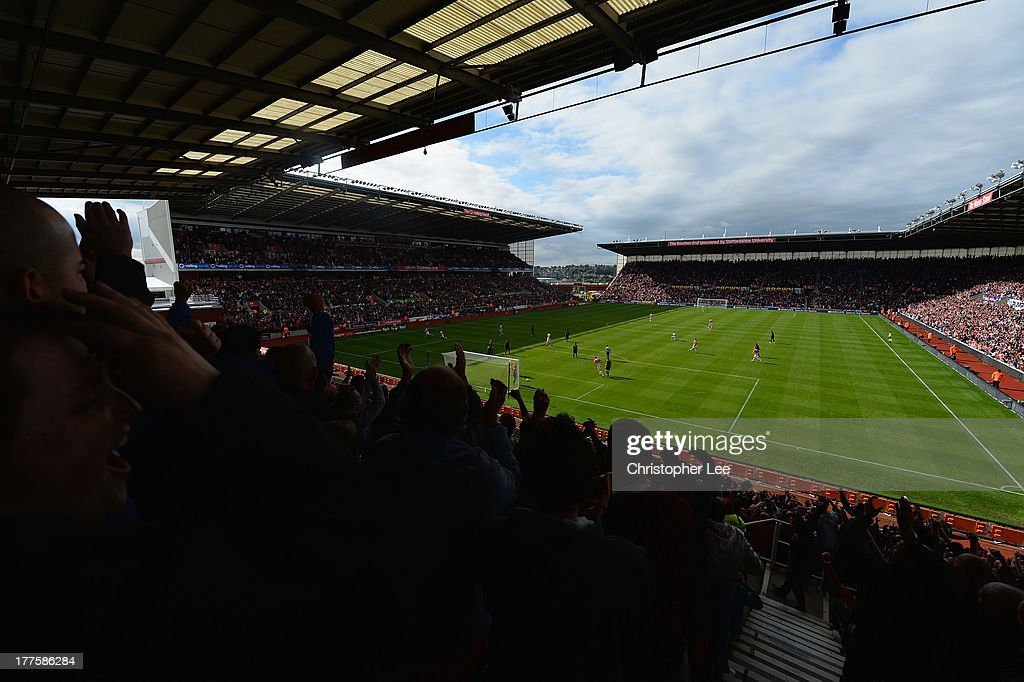 General view of the Britannia Stadium as the crowd cheer the goal scored by Charlie Adam of Stoke City during the Barclays Premier League match between Stoke City and Crystal Palace at Britannia Stadium on August 24, 2013 in Stoke on Trent, England.
