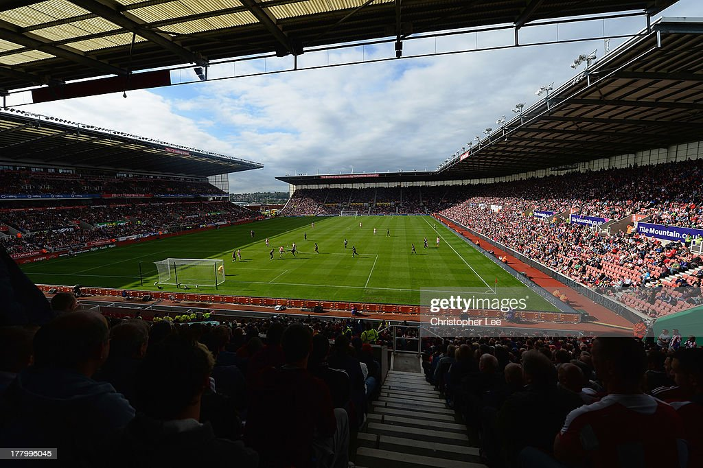 General view of the Britannia Stadium during the Barclays Premier League match between Stoke City and Crystal Palace at Britannia Stadium on August 24, 2013 in Stoke on Trent, England.