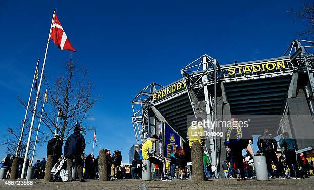 General view of the Brondby fans waiting in front of the stadium prior to the Danish Alka Superliga match between Brondby IF and FC Copenhagen at...
