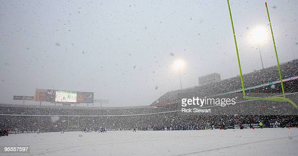 A general view of the Buffalo Bills playing the Indianapolis Colts in the snow at Ralph Wilson Stadium on January 3 2010 in Orchard Park New York