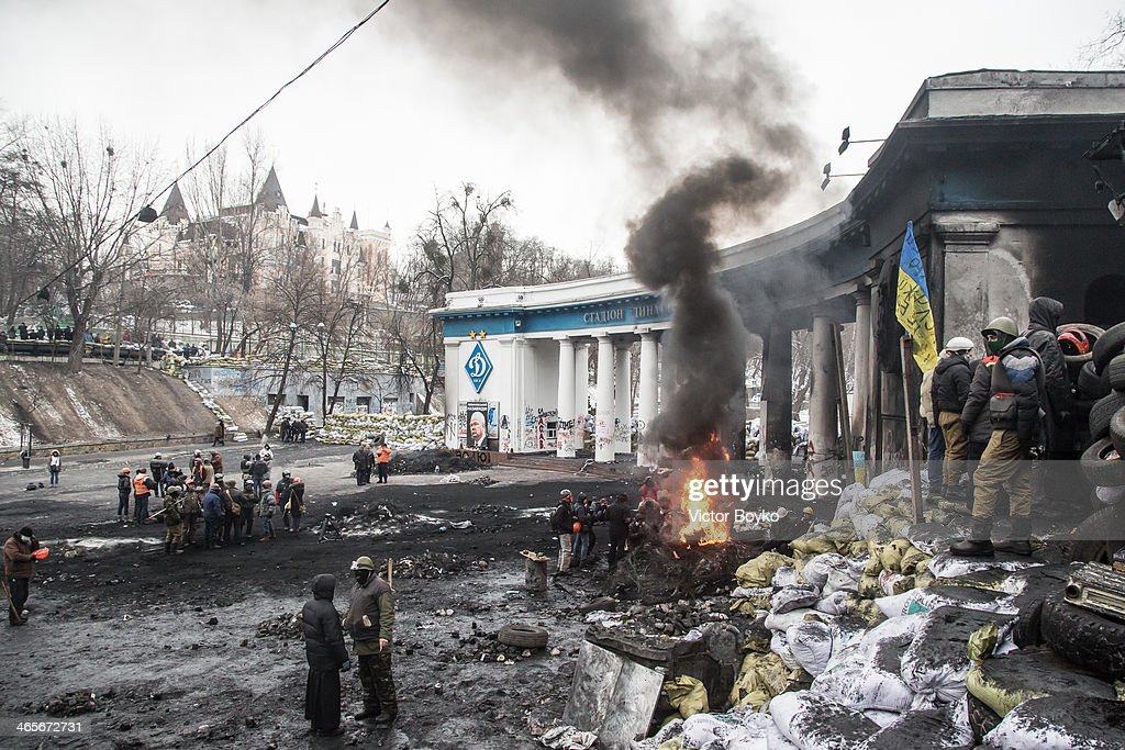 A general view of the buffer zone between protesters and police on Grushevskogo Street on January 28, 2014 in Kiev, Ukraine. President Viktor Yanukovych has accepted the resignation of Prime Minster Mykola Azarov after the government annulled a anti-protest law.