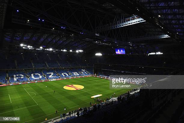 A general view of the Bulgarska Street Stadium prior to the UEFA Europa League Group A match between KKS Lech Poznan and Manchester City at the...