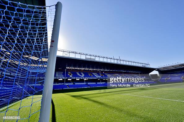 A general view of the Bullens Road Stand at Goodison Park before the Premier League match between Everton and Watford at Goodison Park on August 08...