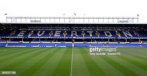 A general view of the Bullens Road Stand before the Barclays Premier League match between Everton and Tottenham Hotspur at Goodison Park on January...