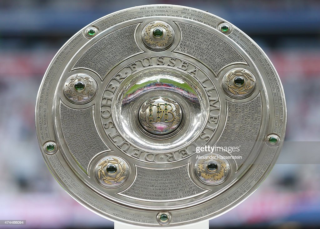 A general view of the Bundesliga trophy prior to kickoff during the Bundesliga match between FC Bayern Muenchen and 1 FSV Mainz 05 at the Allianz...