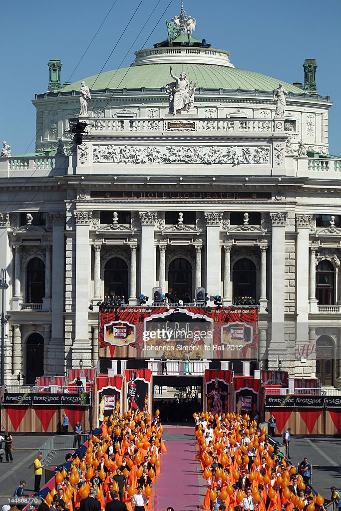 A general view of the Burgtheater during the on stage preparations of the Life Ball 2012 AIDS charity fundraiser at City Hall on May 192 012 in...
