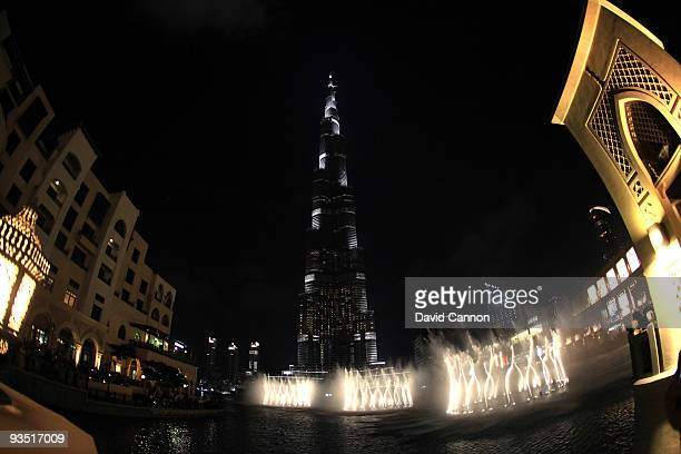 A general view of the Burj Dubai the world's tallest building during one of the Lake Fountain shows which take place at regular intervals to music...