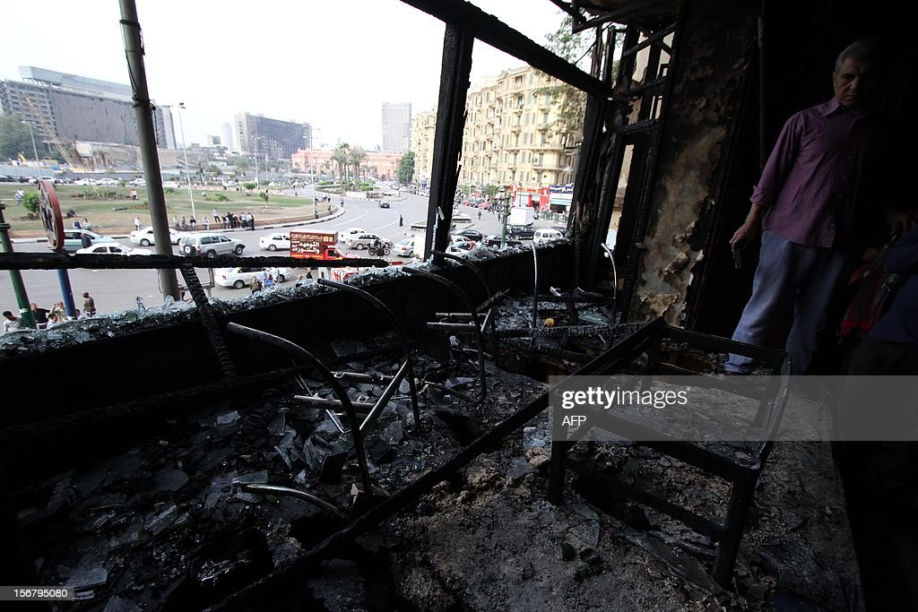 A general view of the burnt down office of Al Jazeera satellite television channel is seen on November 21, 2012 in Cairo. An office of the Arab satellite broadcaster Al-Jazeera in the Egyptian capital was firebombed, a security official said, as protesters clashed near the downtown Tahrir Square.