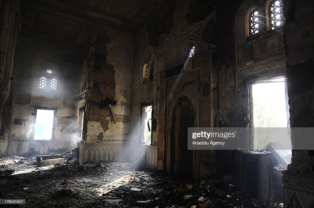 A general view of the burnt out Raba'a al-Adawiya Mosque on August 15, 2013 in Raba'a al-Adawiya Square in Cairo,Egypt. The Raba'a al-Adawiya mosque burnt down as Egyptian security forces attempted to move supporters of Mohammed Morsi and the Muslim Brotherhood out of one of the biggest protest camps near the temple. Mohammed Morsi, Egypts first democratically elected president, was ousted by Egyptian army in a military coup on July 3, 2013.