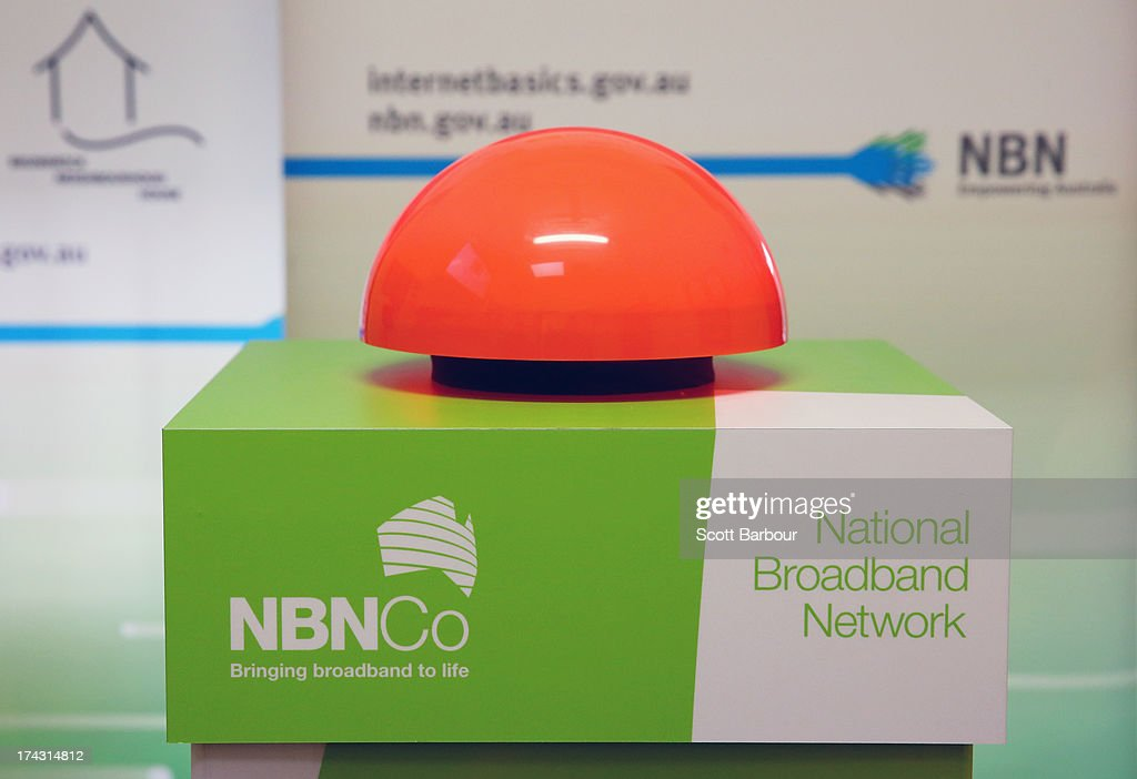 A general view of the button pushed by Anthony Albanese, Deputy Prime Minister of Australia to switch on the NBN fibre network to an adtional 2,600 homes and businesses in Brunswick at the Brunswick Digital Hub on July 24, 2013 in Melbourne, Australia. The national broadband network is being rolled out accross Australia, and is to provide over 93% of Australian homes and business with access to a fibre optic network. As the 2013 Australian federal election approaches and infrastructure remains a major concern of voters, the Labor party continues to push the power of their fibre direct to the home plan with the Liberal party pushing what it claims is a more cost-effective plan using existing copper and new optical fibre.