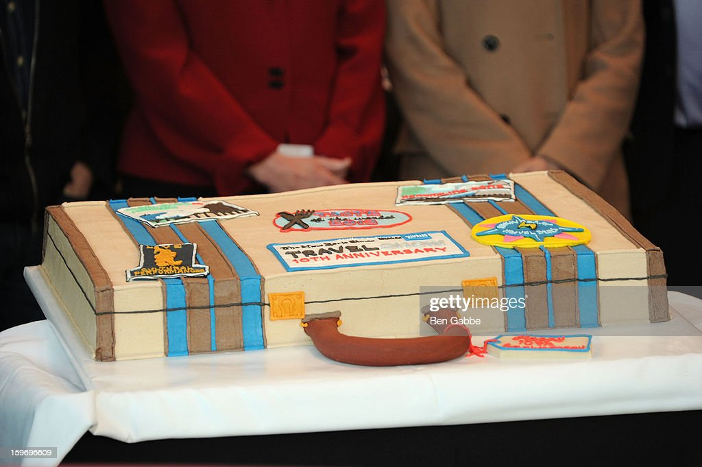 A general view of the cake at The 10th Annual New York Times Travel Show Ribbon Cutting And Preview at Javits Center on January 18, 2013 in New York City.
