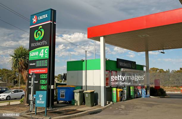 A general view of the Caltex Woolworths petrol station in Geelong on August 10 2017 in Melbourne Australia The Australian Competition and Consumer...