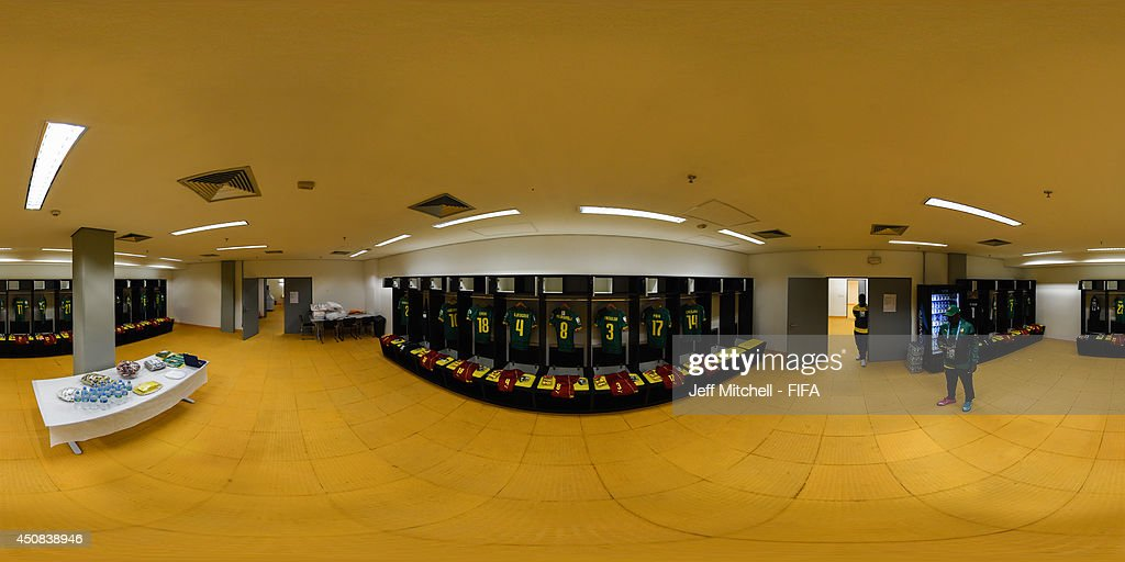 A general view of the Cameroon dressing room ahead of the 2014 FIFA World Cup Brazil Group A match between Cameroon v Croatia at Arena Amazonia on June 18, 2014 in Manaus, Brazil.