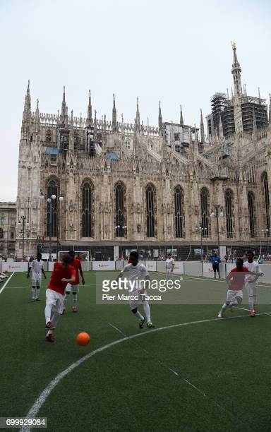 A general view of the camp during tha match of football clinic for integration organized by Italian Football Federation at Piazzetta Reale on June 22...