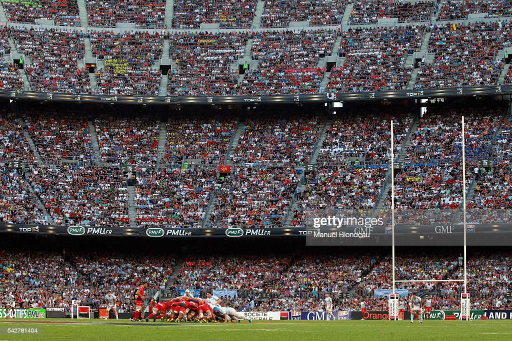 General view of the Camp Nou during the Rugby Top 14 Final between RC Toulon and Racing 92 at Camp Nou on June 24, 2016 in Barcelona, Spain.