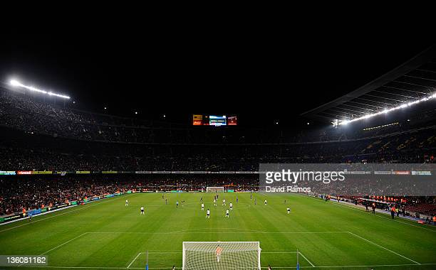 A general view of the Camp Nou stadium during the round of last 16 Copa del Rey second leg match between FC Barcelona and L'Hospitalet at Camp Nou on...