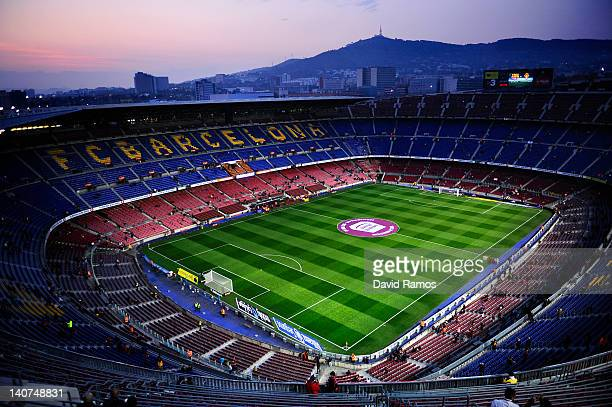 A general view of the Camp Nou Stadium prior to the La Liga match between FC Barcelona and Sporting Gijon on March 3 2012 in Barcelona Spain FC...