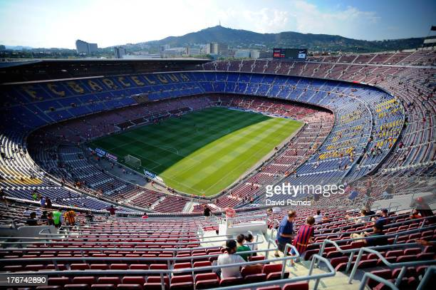 General view of the Camp Nou stadium prior to the La Liga match between FC Barcelona and Levante UD on August 18 2013 in Barcelona Spain