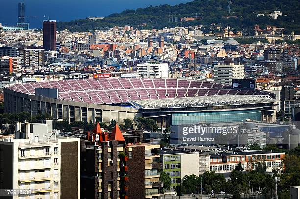 A general view of the Camp Nou stadium prior to the La Liga match between FC Barcelona and Levante UD on August 18 2013 in Barcelona Spain
