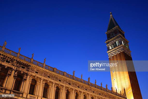 A general view of The Campanile in St Mark's Square during the 65th Venice Film Festival on September 2 2008 in Venice Italy