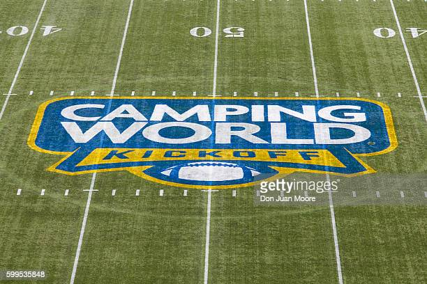 A general view of the Camping World KickOff Logo at midfield before the game between the 4th ranked Florida State Seminoles play the 11th ranked Ole...