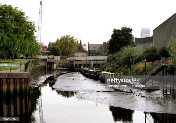 General view of the canal near Sugar House Lane in Bromley by Bow London near to where an unexploded Word War II bomb will be detonated in a...