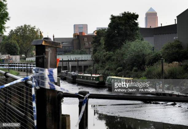General view of the canal near Sugar House Lane in Bromley London where an unexploded Word War II bomb will be detonated in a controlled explosion
