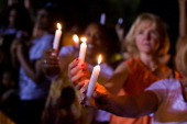 General view of the Candlelight Vigil at Childhood Home of Michael Jackson on August 29 2012 in Gary Indiana