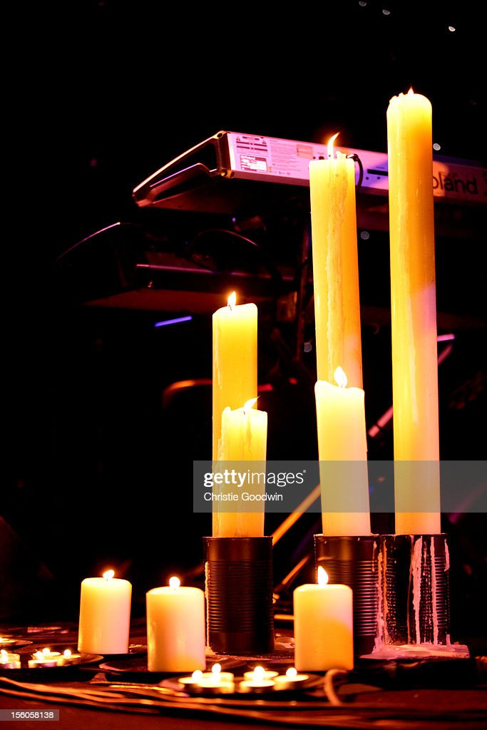 General view of the candles on stage during the concert of Kerry Ellis and <a gi-track='captionPersonalityLinkClicked' href=/galleries/search?phrase=Brian+May&family=editorial&specificpeople=158059 ng-click='$event.stopPropagation()'>Brian May</a> at the Union Chapel on November 11, 2012 in London, England.