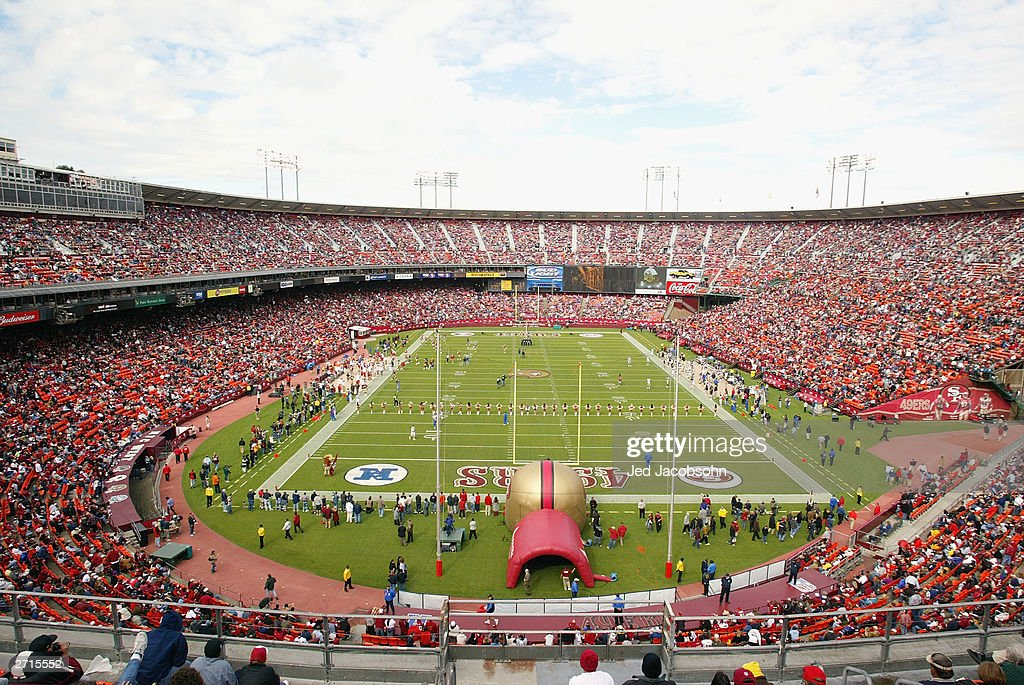 General view of the Candlestick Park during player introductions for the game between the San Francisco 49ers and the St Louis Rams on November 2...