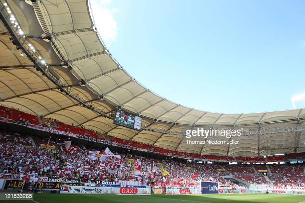 General view of the Cannstatter Kurve during the Bundesliga match between VfB Stuttgart and Bayer 04 Leverkusen at MercedesBenz Arena on August 20...