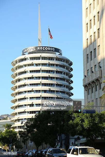 A general view of the Capitol Records building as seen from Hollywood Boulevard and Vine Street on September 28 2012 in Los Angeles California