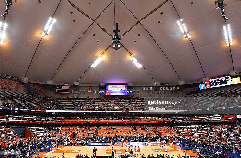 A general view of the Carrier Dome as seats begin to fill prior to the game between the Syracuse Orange and the Providence Friars on February 20, 2013 in Syracuse, New York.