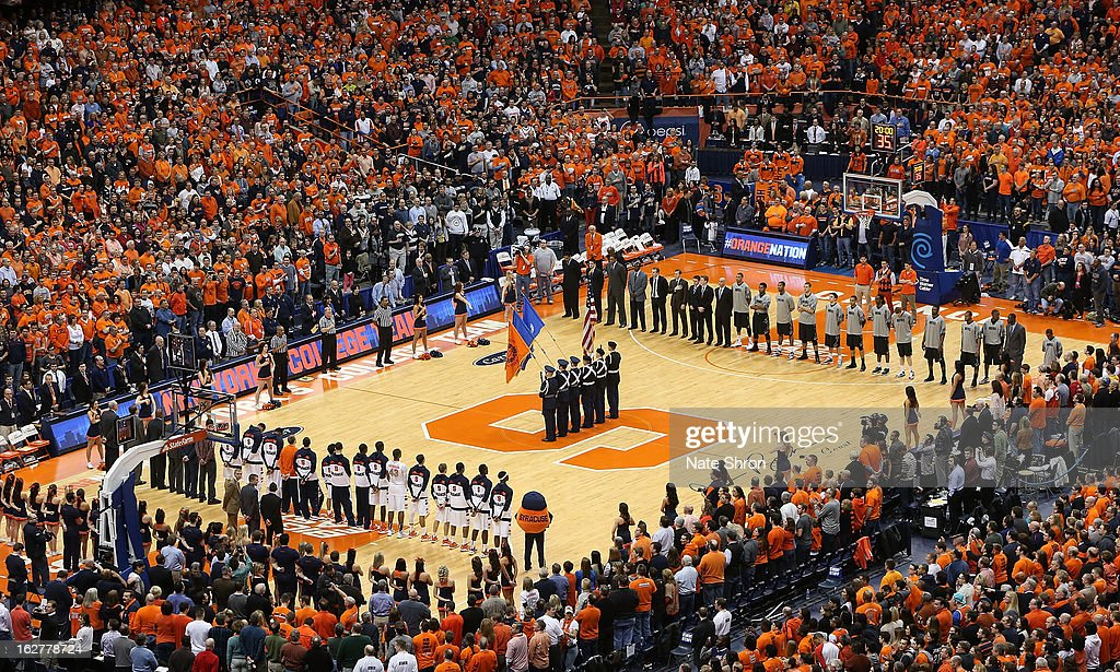 A general view of the Carrier Dome court during the national anthem prior to the game between the Syracuse Orange and the Georgetown Hoyas on February 23, 2013 in Syracuse, New York.