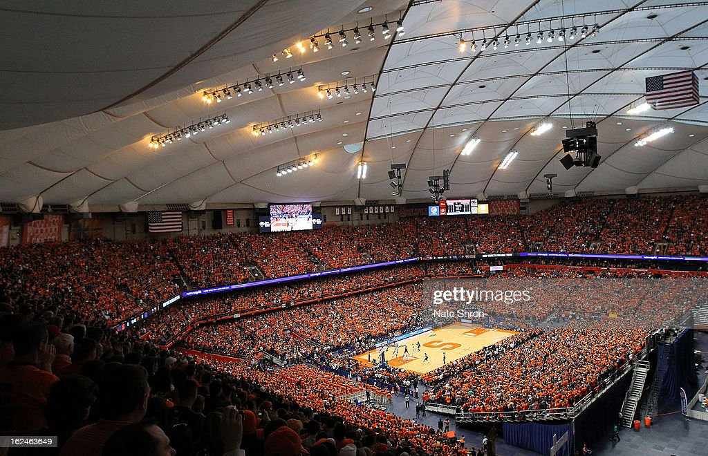 A general view of the Carrier Dome during the game between the Syracuse Orange and the Georgetown Hoyas with record breaking attendance of 35,012 fans on February 23, 2013 in Syracuse, New York.