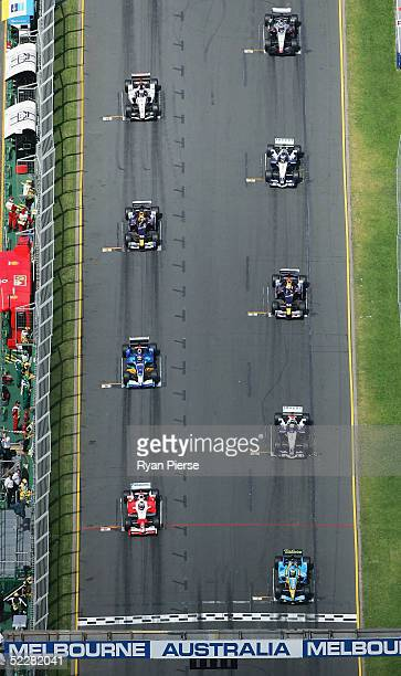 A general view of the cars on the grid before the start of the Australian Formula One Grand Prix at Albert Park on March 6 2005 in Melbourne Australia