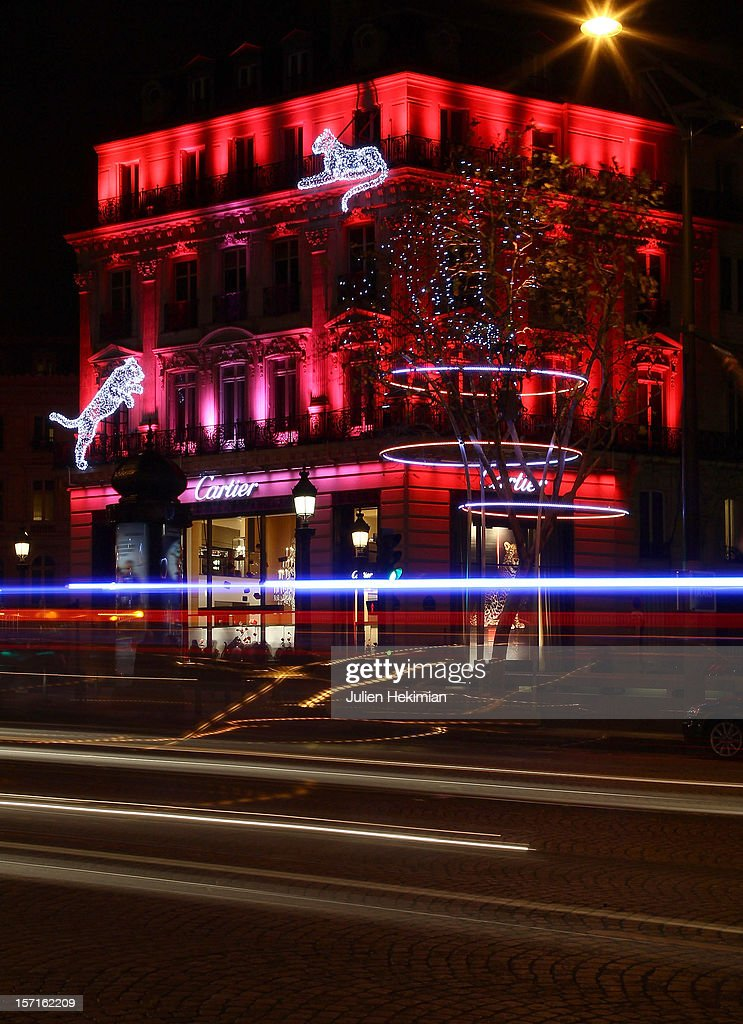 A general view of the Cartier store Christmas illuminations at Champs-Elysees on November 29, 2012 in Paris, France.