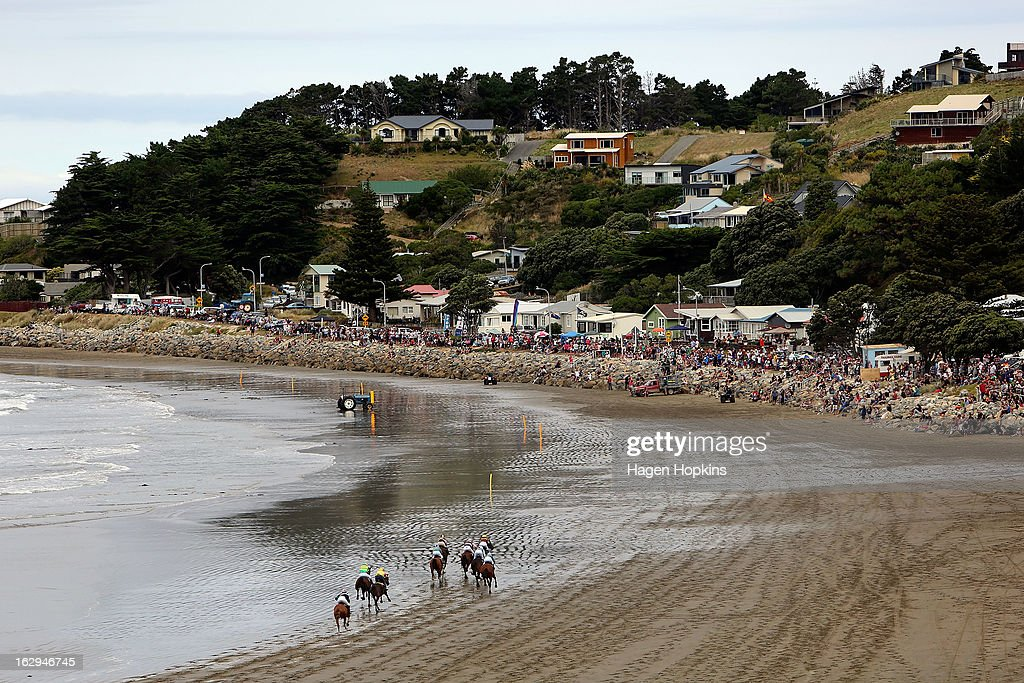 A general view of the Castlepoint Beach Races at Castlepoint Beach on March 2, 2013 in Masterton, New Zealand.