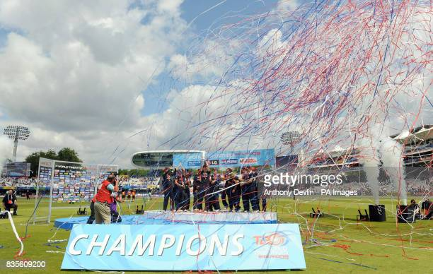 A general view of the celebrations as England captain Charlotte Edwards lifts the ICC World Twenty20 Trophy after the Final of the Womens ICC World...
