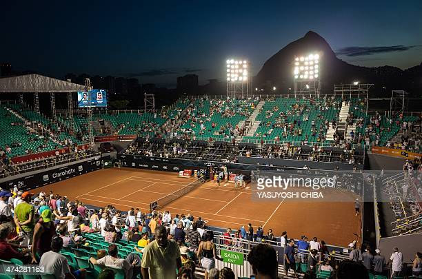 A general view of the center court during the 2014 Rio Open men's semifinal singles tennis match in Rio de Janeiro Brazil on Februrary 22 2014 AFP...
