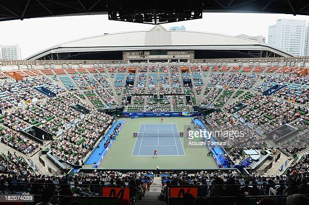 General view of the center court during the women's singles final match between Petra Kvitova of Czech Republic and Angelique Kerber of Germany...