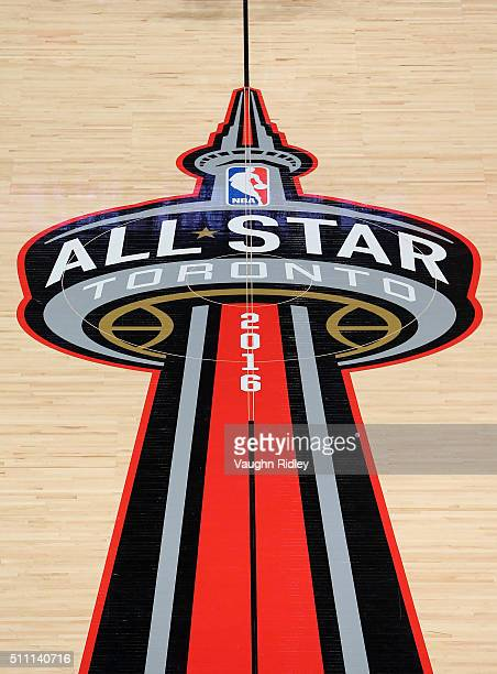 A general view of the center court logo during the NBA AllStar Game 2016 at the Air Canada Centre on February 14 2016 in Toronto Ontario NOTE TO USER...