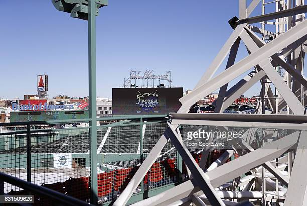 A general view of the center field scoreboard from the first base deck at Fenway Park before a Frozen Fenway NCAA Men's Division 1 hockey game...